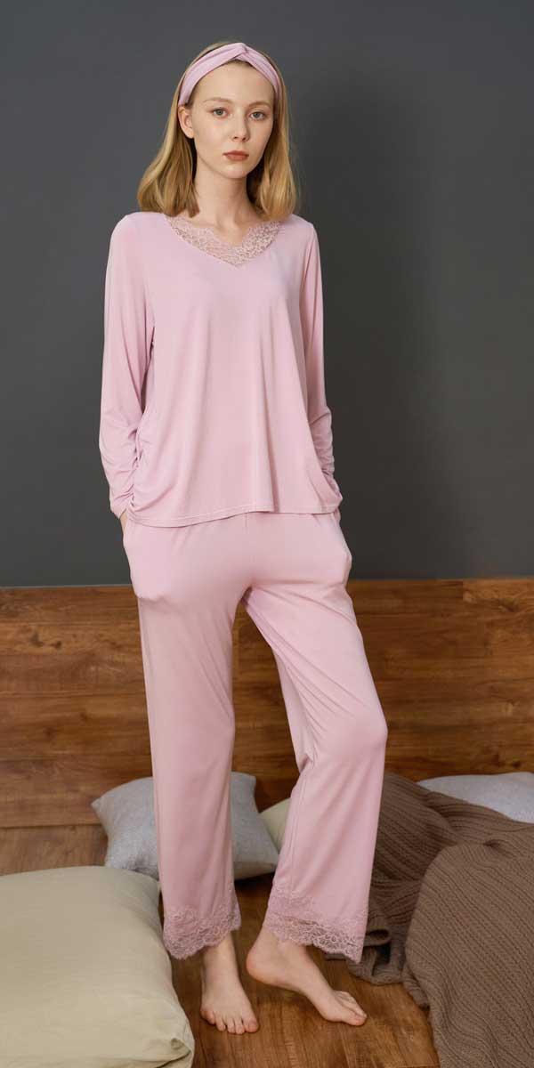 PAJAMA/ 莫代尔棉蕾丝睡眠套装