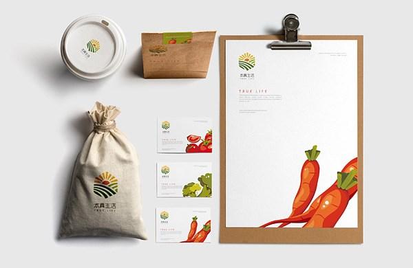 本真生活农产品logo设计/VI设计