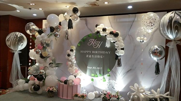生日派对舞台背景拍照区气球装饰布置