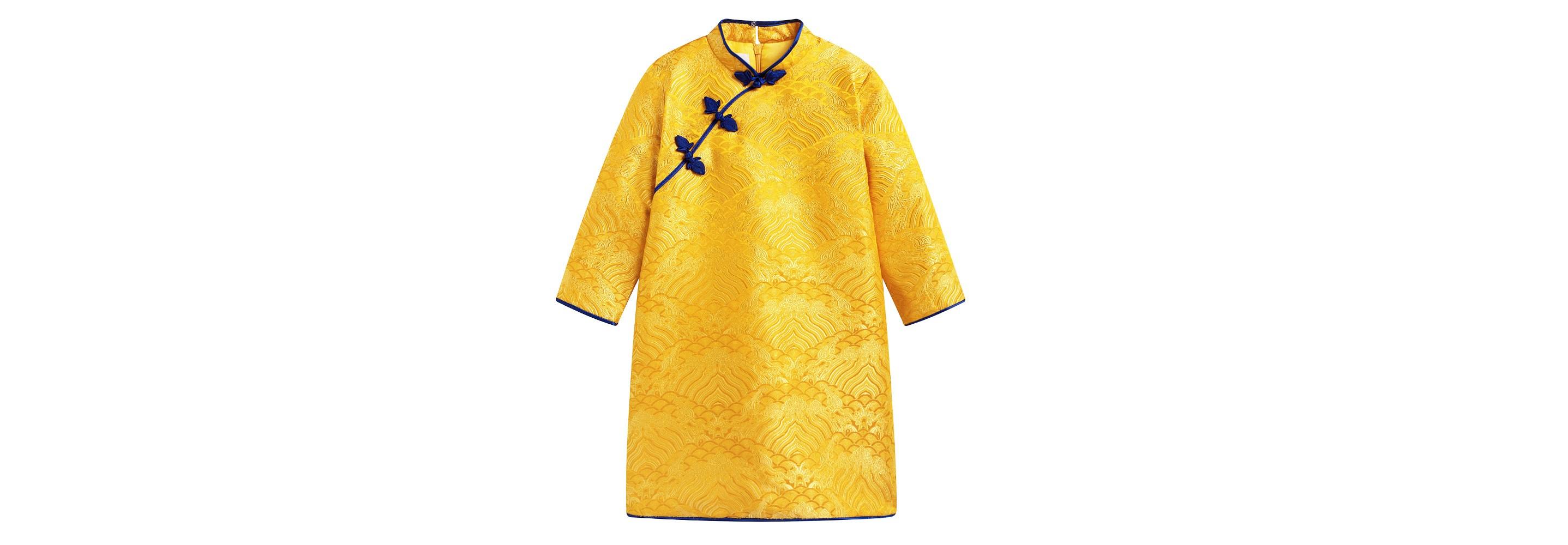 黄色水波纹长袖