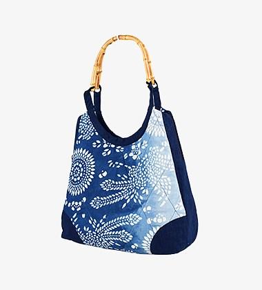 蓝印花布拎包凤凰团花手提包