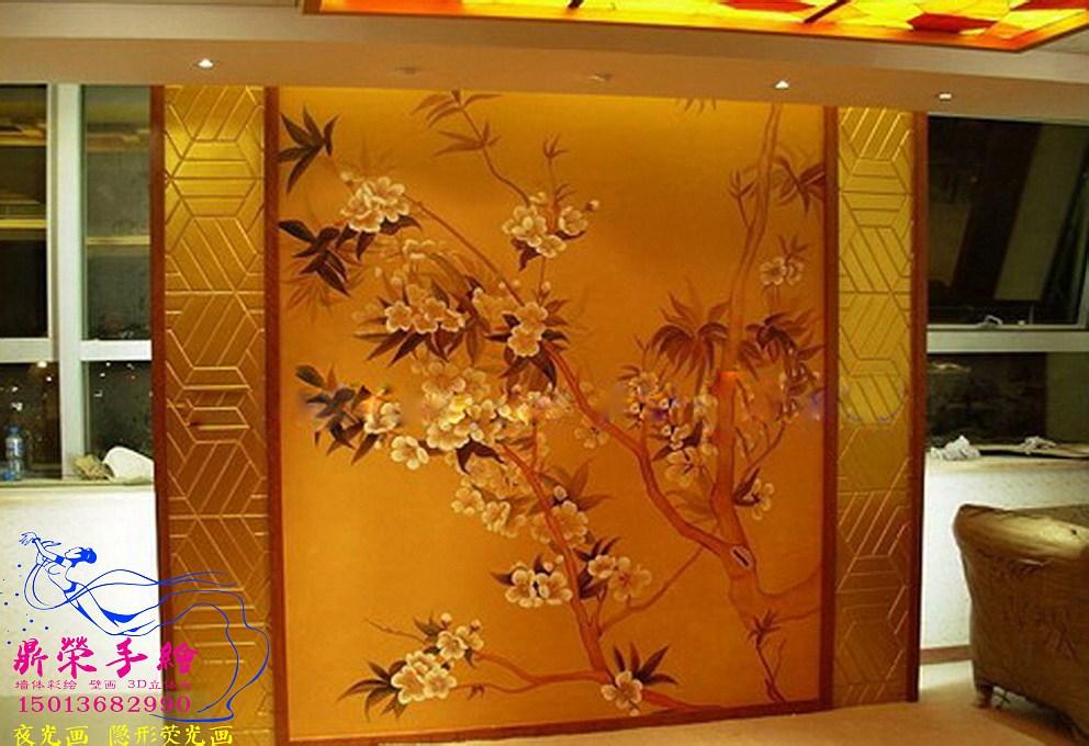 中国茶楼墙绘  深圳手绘墙公司