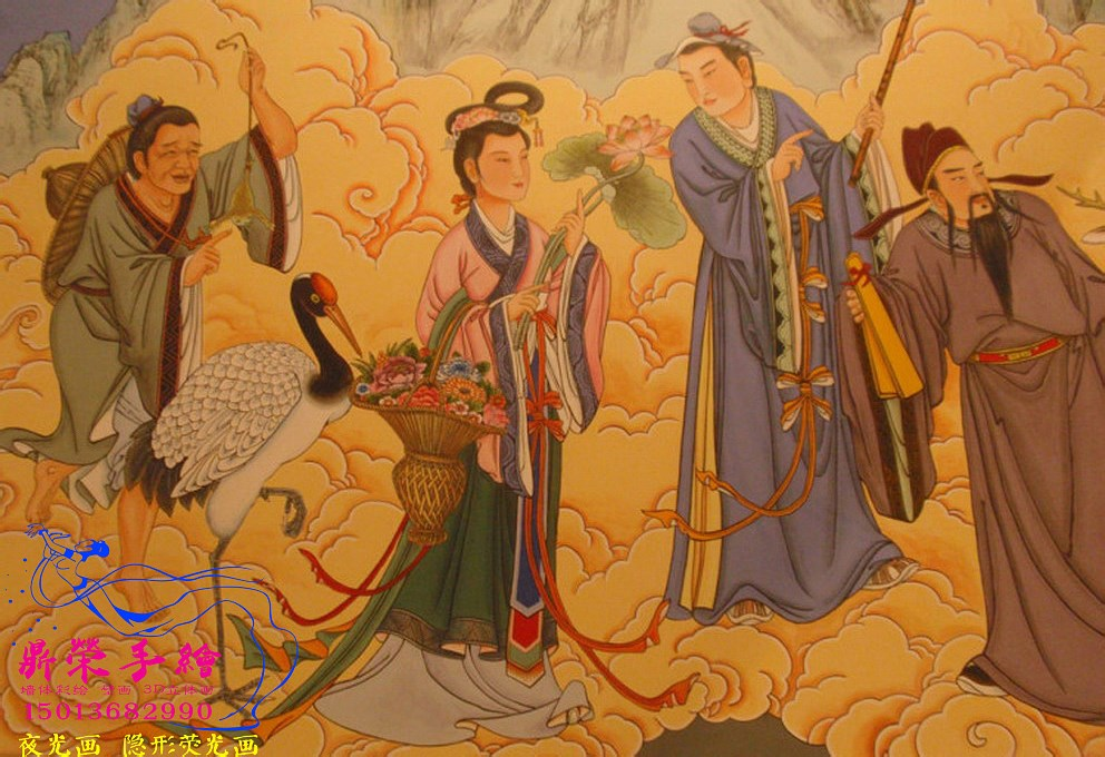 深圳手绘墙公司 周至楼观台墙绘