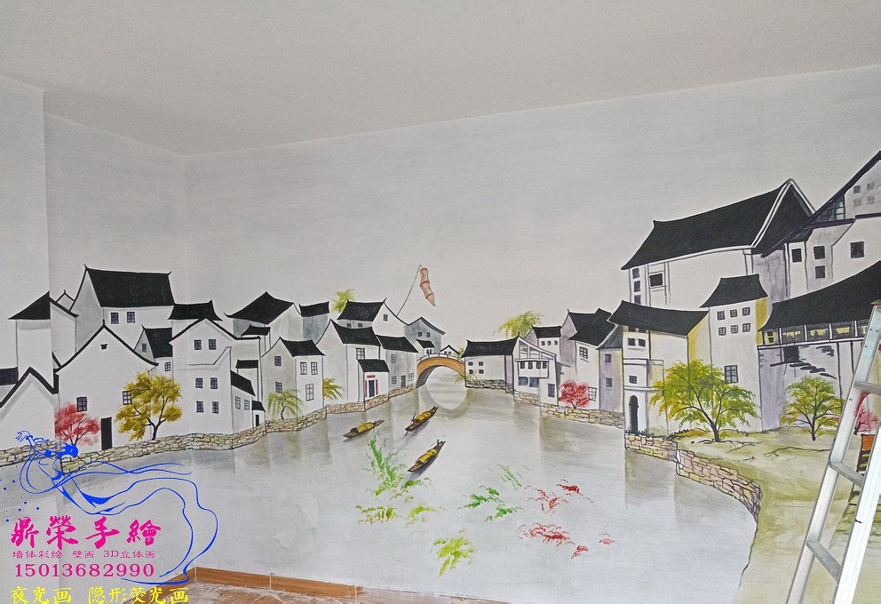 深圳手繪墻公司  福永湖畔公寓