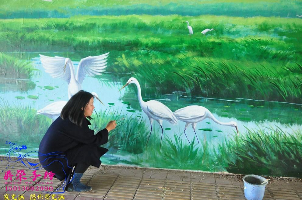 深圳手繪墻公司    惠州濕地公園